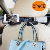 Normei Car Headrest Hook with Phone Holder, 2 Pack