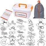 LOOBANI Assorted Brain Teasers Metal Wire IQ Puzzles with Plastic Box